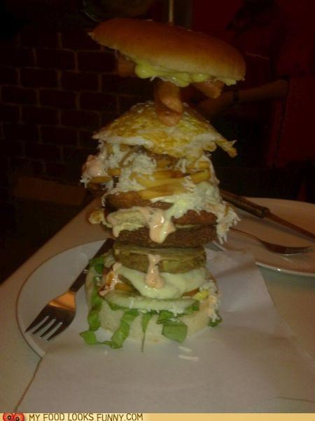 burger,Fried Egg,giant,onion rings,sandwich,tower