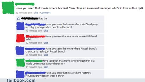 matthew mcconaughey,megan fox,Russell Brand,michael cera,Morgan Freeman,Will Ferrell,failbook,g rated