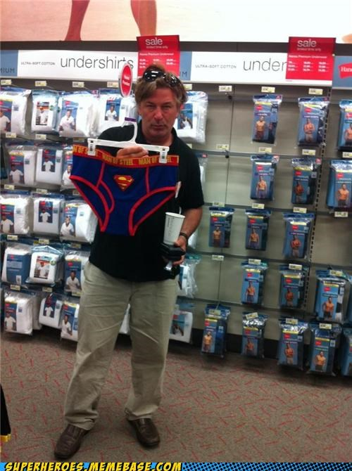 alec baldwin,Random Heroics,shopping,superman,undies