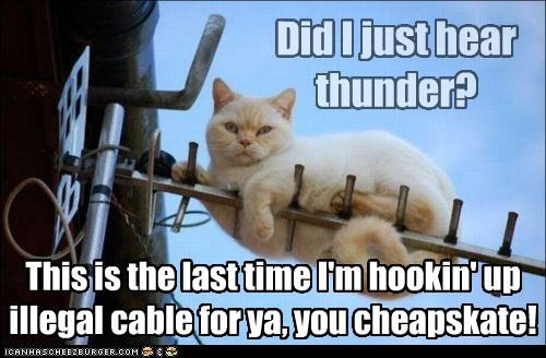 Did I just hear thunder? This is the last time I'm hookin' up illegal cable for ya, you cheapskate!