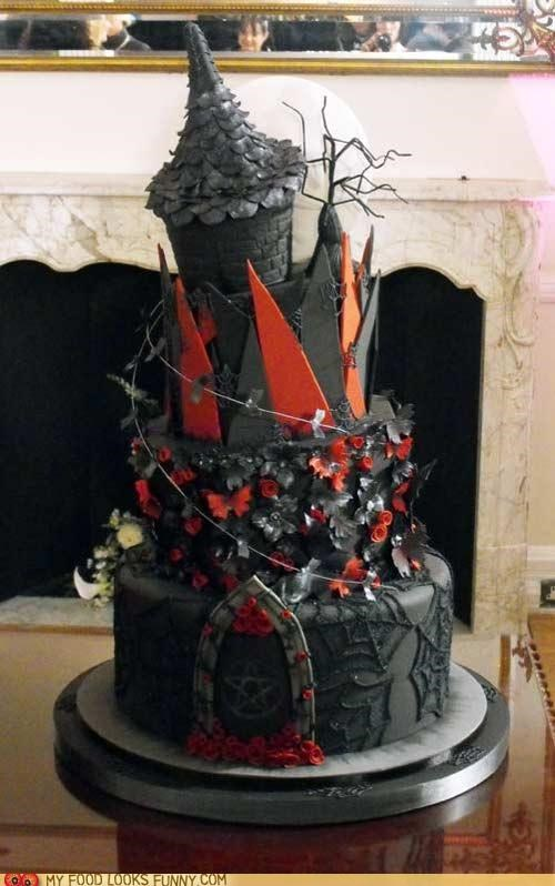 cake goth grey red spiderwebs spiky