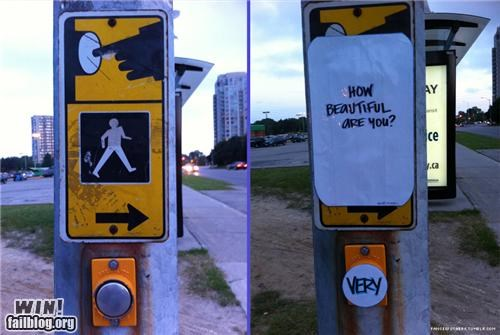 beautiful button compliment crosswalk