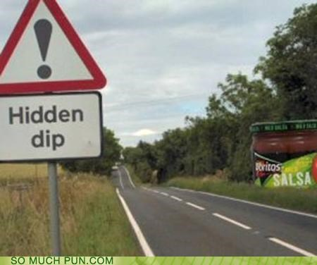 dip,double meaning,hidden,literalism,salsa,sign,warning