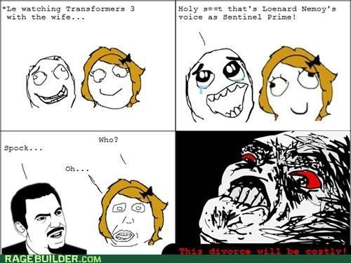 divorce,Rage Comics,Spock,Star Trek,transformers 3