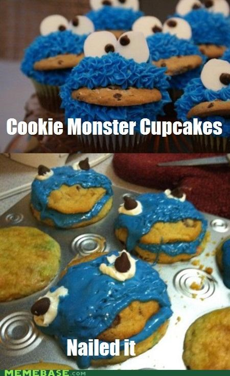 Cookie Monster cupcakes delicious Memes Nailed It - 4970129664