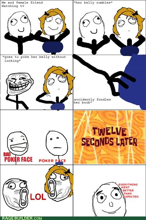 bad poker face,funbags,lol,poke,poker face,Rage Comics,stomach