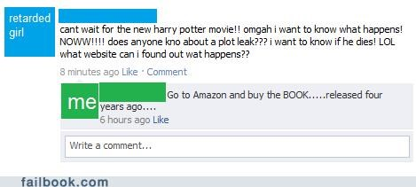 facepalm,Harry Potter,reading,Spoiler Alert