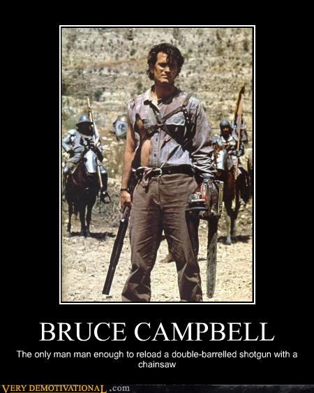 bruce campbell,chainsaw,hilarious,man,shotgun