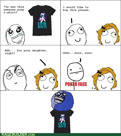 brony,i lied,my little pony,poker face,Rage Comics,shame