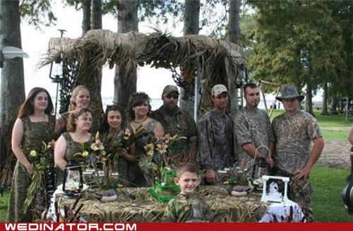 camouflage canopy hunting blind bridal party