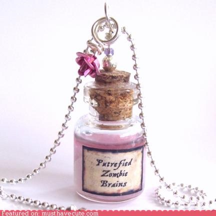 jar Jewelry necklace pendant powder zombie brains - 4972694272