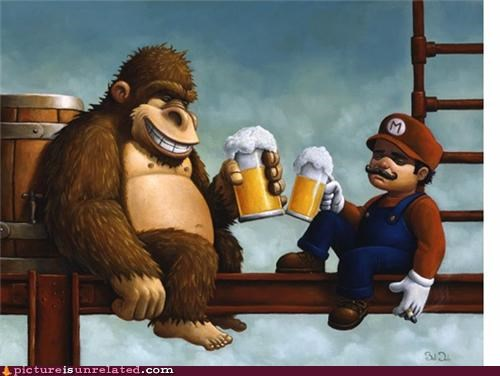 art beer donkey kong mario princess video games wtf - 4972779264