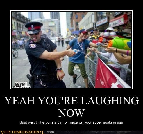cop,hilarious,laughing,mace