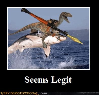 dinosaur hilarious photoshop rocket launcher shark - 4972947200