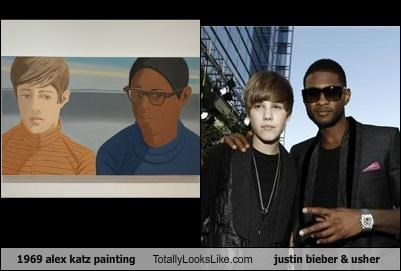 1969 alex katz painting Totally Looks Like justin bieber & usher