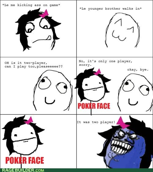 i lied,poker face,Rage Comics,siblings,video games
