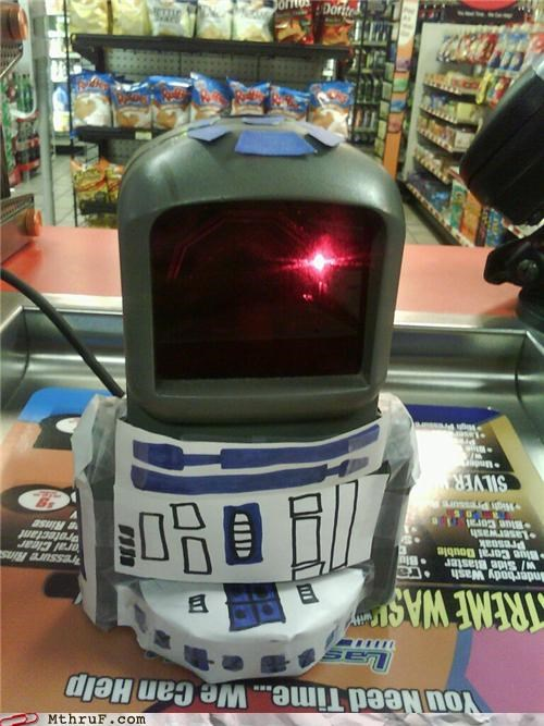 grocery store r2d2 retail scanner star wars