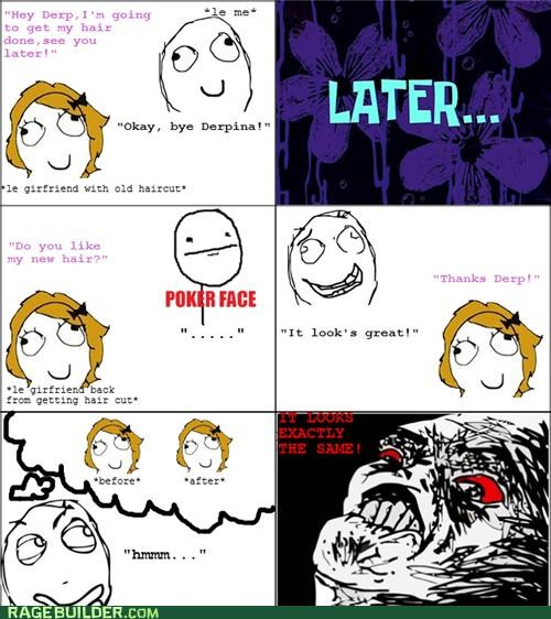 haircut,poker face,Rage Comics,same,women