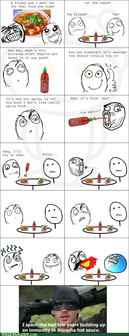 burns hot sauce pain Rage Comics sriracha - 4973766400