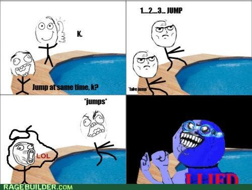 i lied,jump,pool,Rage Comics