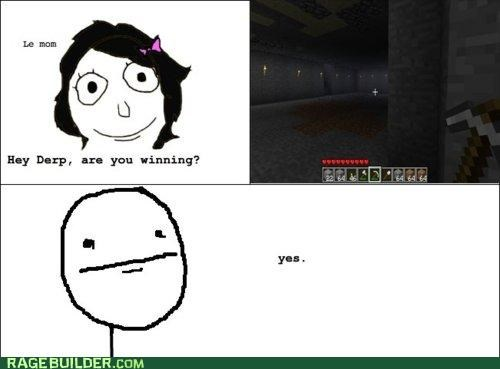 minecraft,poker face,Rage Comics,video games,winning