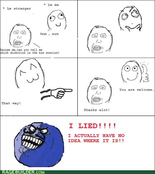 bus station,directions,i lied,Rage Comics