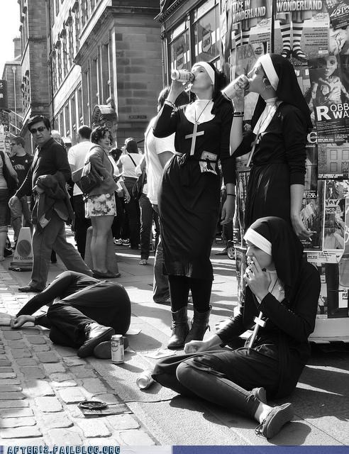 drinking,haters gonna hate,nuns,smoking