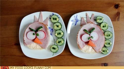 angry birds,bagel,cucumbers,game,ham,sandwich