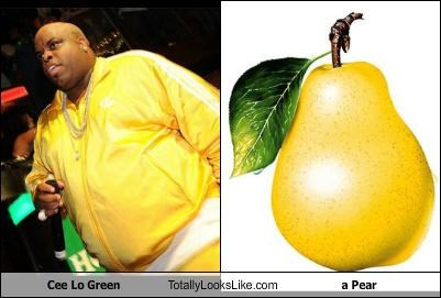 cee lo cee-lo green food fruit Hall of Fame musicians pear people shaped like food yellow tracksuit