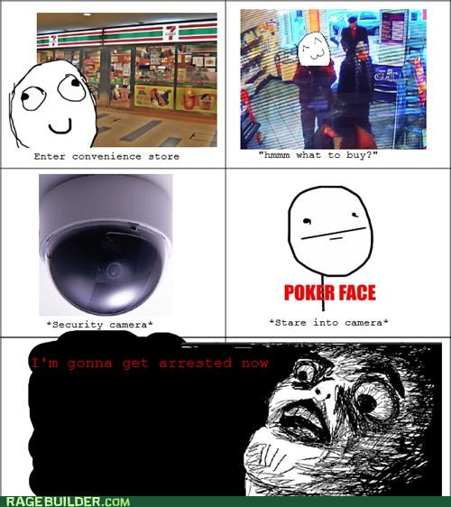 poker face,Rage Comics,raisin face,security camera,stealing