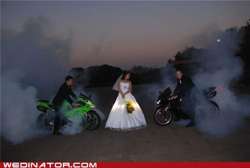 bride,funny wedding photos,groom,motorcycles