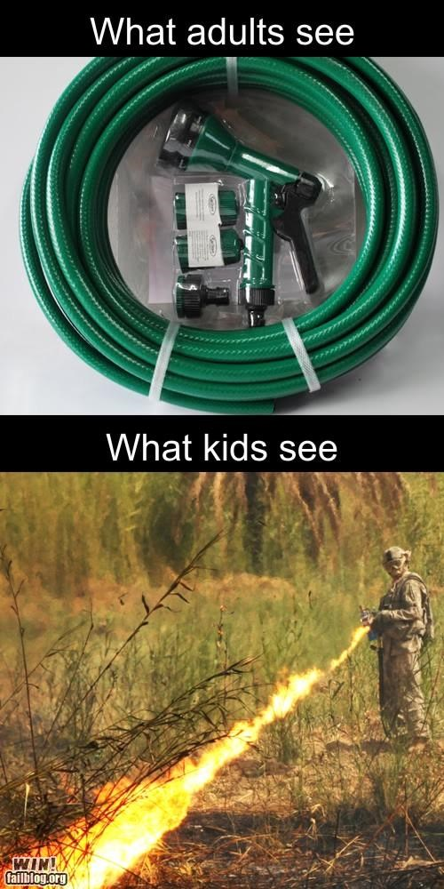 garden hose,imagination,kids