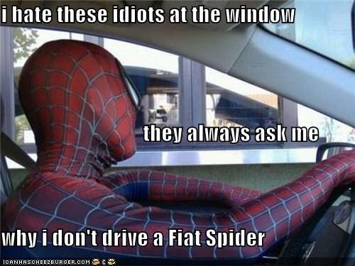 cars,drive thru,fiat,IRL,Spider-Man,Superhero IRL