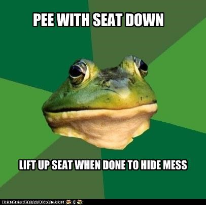PEE WITH SEAT DOWN LIFT UP SEAT WHEN DONE TO HIDE MESS