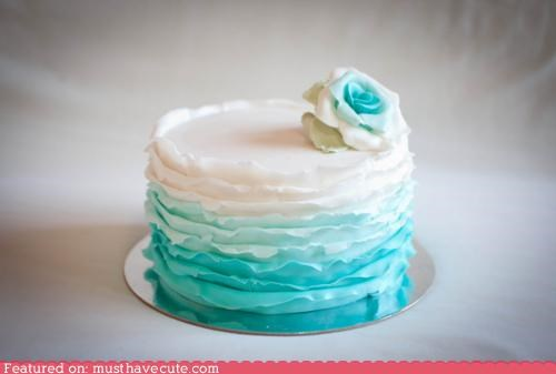 blue,cake,epicute,Flower,fondant,icing,layers,rose,turquoise,white