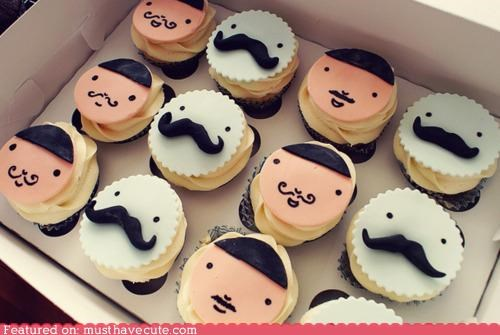 cupcakes dapper epicute faces mustaches - 4976937216