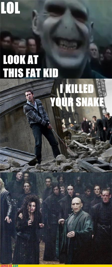 deathly hallows,Harry Potter,nagini,neville longbottom,snake,voldemort