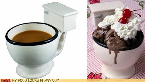 bowl,coffee,cup,ice cream,toilet