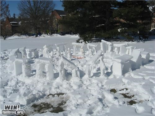 sculpture snow snowman stonehenge - 4977296896