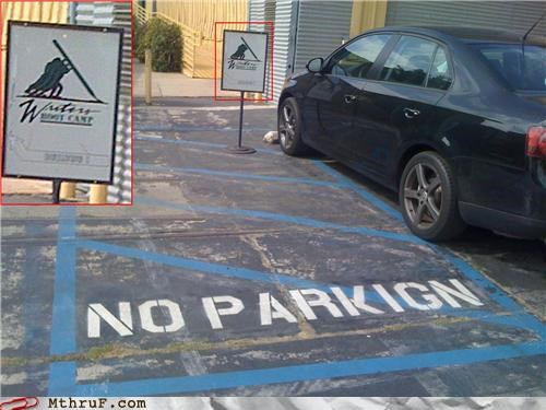 misspelling no parking spelling writing