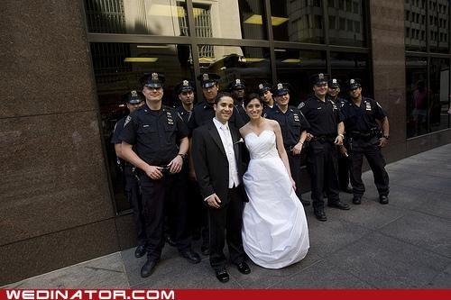 bride,funny wedding photos,groom,police