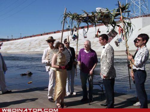 bride city funny wedding photos groom river - 4977566208