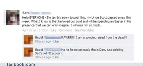 death in the family Awkward too soon funeral failbook