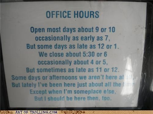 close IRL office hours open sign