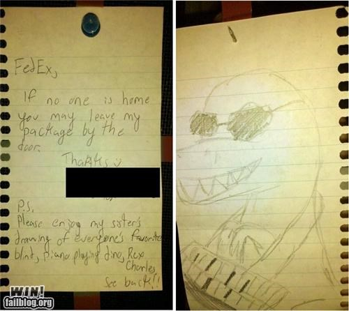 awesome,blind,cute-little-kids,dinosuar,fed ex,notes