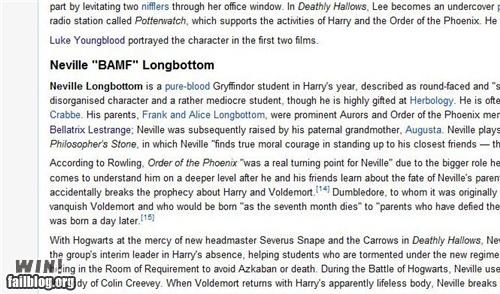 BAMFs,Harry Potter,neville longbottom,wikipedia