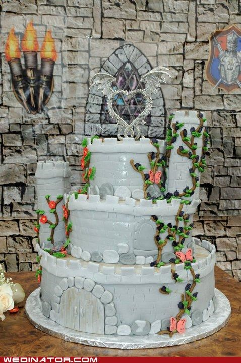 cake toppers castle dragon funny wedding photos Hall of Fame medieval wedding cake - 4981137408