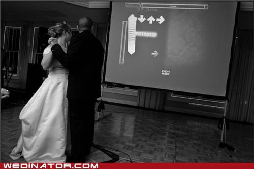 bride,dance dance revolution,funny wedding photos,groom