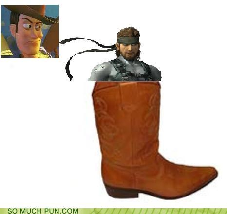 boot,catchphrase,literalism,metal gear solid,snake,solid snake,theres-a-snake-in-my-boot,toy story,woody