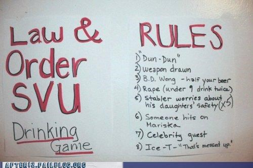 drinking game law and order rules svu
